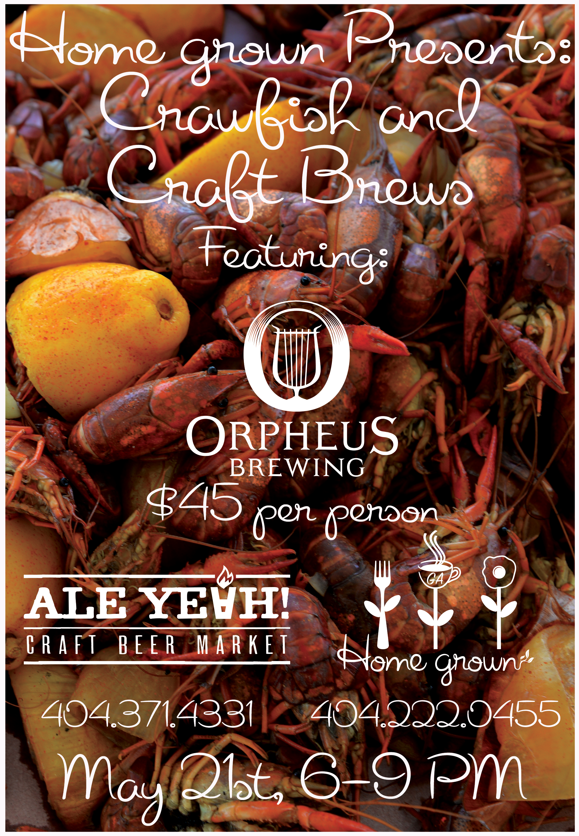 crawfish, orpheus, ale yeah